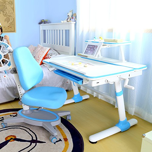 1 Meter Height Adjustable Study Table for Kids Pull-out Drawer Tilt-able Desktop Model: E501 Pink . Youth or Adult Desk+Bookshelf+Bookholder Children Ergonomic Study Desk with Bookshelf