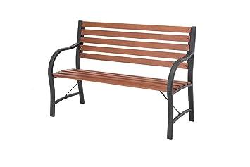 Sunjoy Large Natural Wood Burning Slats Garden Bench With Black Frame,  48u0026quot; ...