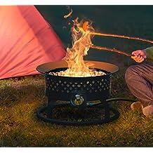 "Steel Portable Propane Gas Outdoor Fire Pit Bowl - Includes Pumice Stones, Locking Lid 54,000 BTU 18.5"" Diameter"