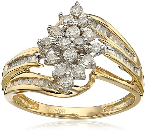 Jewelili 10k Yellow Diamond Gold Cluster Ring 1 2 cttw