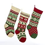 Kurt Adler Heavy Knit Snowflake and Chrismas Tree Stocking - 3 Assorted
