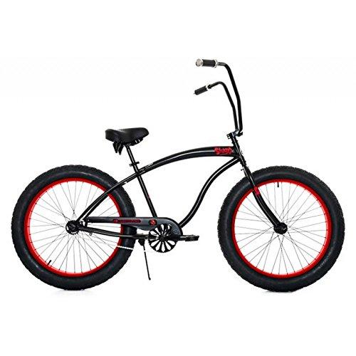 Micargi Slugo A Series Beach Cruiser Bike, Black with Red Rims - Fat Tire 4.0 Chopper Style