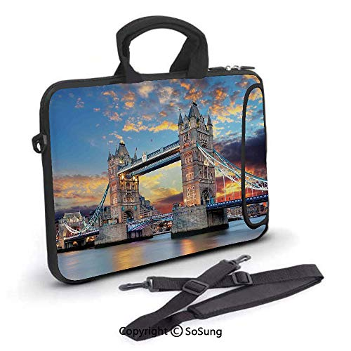 17 inch Laptop Case,Vista of Tower Bridge at Dramatic Sunset Thames River with Grey Clouds Neoprene Laptop Shoulder Bag Sleeve Case with Handle and Carrying & External Side Pocket,for Netbook/MacBook