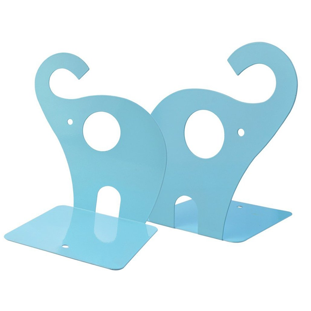 1 Pair Cute Elephant Bookends, Rbenxia Nonskid Art Bookend Gift Elephant Nonskid Bookends Book Rack Book Organizer for Office School Library, Blue