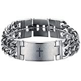 Ostan Men's Stainless Steel Lord's Prayer Cross Double Curb Chain Bracelet 22.5mm