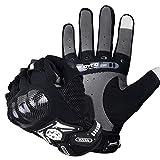 SCOYCO Screen Sensitive Carbon Fiber Knuckle Reinforced Breathable Shockproof Wear Resistant Warm Crashproof Cycling Racing Motorcycle Gloves(BLACK,XL)