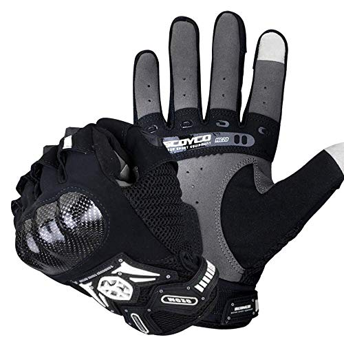 (SCOYCO Screen Sensitive Carbon Fiber Knuckle Reinforced Breathable Shockproof Wear Resistant Warm Crashproof Cycling Racing Motorcycle Gloves(BLACK,L) )