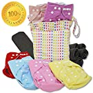 Hearties 13-Piece Baby Gift Set - Pack of 6 Cloth Diapers, 6 Bamboo Charcoal Inserts and WetDry Bag, Baby Gift All in One Cloth Diapers Set E