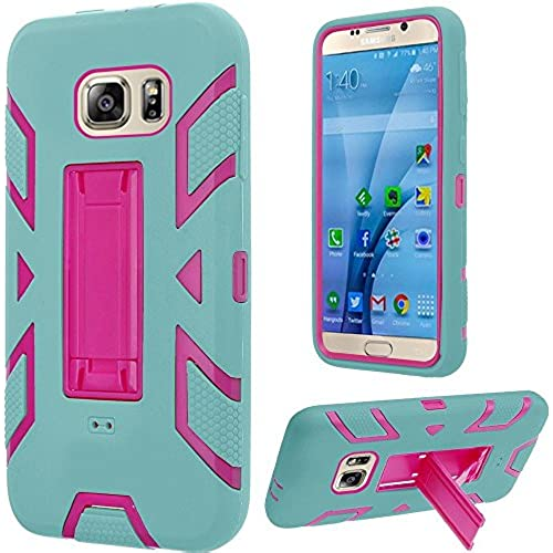 HRWIRELESS(TM) For Samsung Galaxy S7 Hip Vertical Hybrid Dual Layer Kickstand Cover Case (Hot Pink Teal) Sales