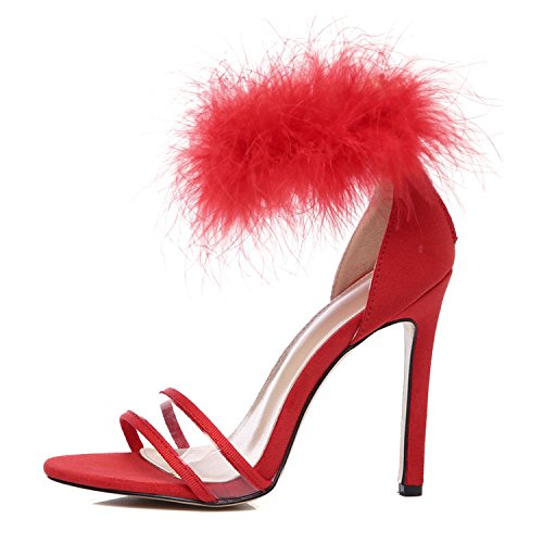 Sandals Shoes Women High Heels Black Red Wedding Party Sandals Transparent 10cm Big Size 41 42,red,6.5