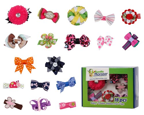 Bundle Monster 18pc Girl Baby Toddler Ribbon Bows Flowers Mixed Design Hair Clip