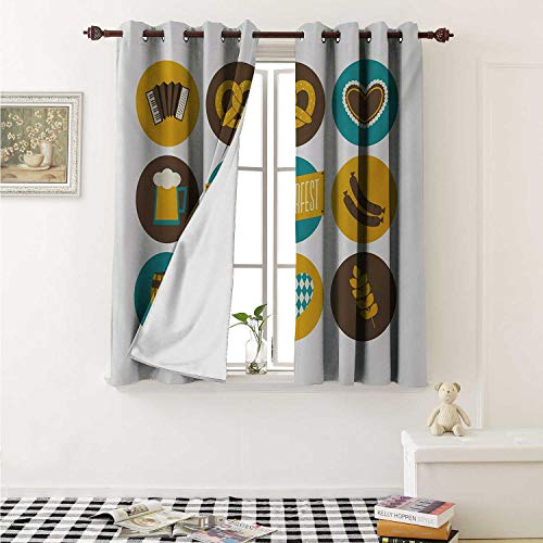 shenglv German Waterproof Window Curtain Bavarian Oktoberfest Themed Symbols Pretzel Beer and Accordion Curtains Living Room W55 x L45 Inch Earth Yellow Teal and Brown