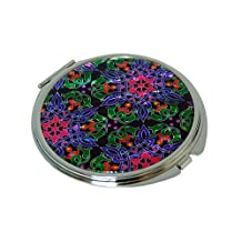Mother of Pearl Blue Yellow Red Flower Design Double Compact Cosmetic Makeup Magnifying Purse Pocket Handbag Mirror