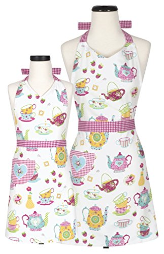 (Handstand Kitchen Mother and Daughter 'Spring Tea Party' 100% Cotton Apron Gift Set )