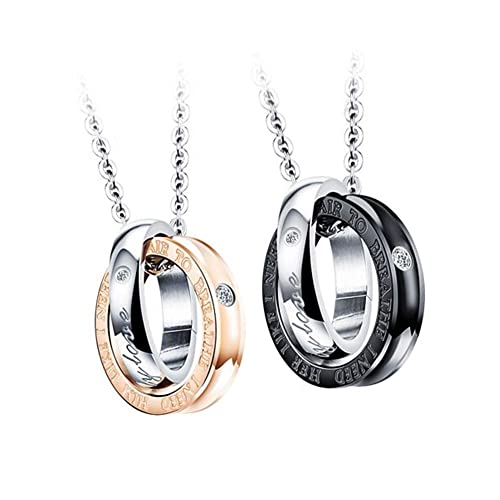 5dce370d3 SENTERIA His & Hers Matching Set Titanium Stainless Steel Engraved Word Love  with Cubic Zirconia 2-Color Double Ring Couple Pendant Necklace 3 Style (A  ...