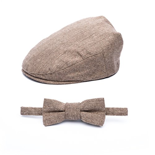 (Born to Love - Baby Boy's Hat Vintage Driver Caps (XS 48cm), tan with Bow)
