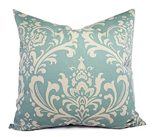 (Blue and Cream Throw Pillow Cover in Custom Sizes - Damask Decorative Pillow Sham - Spa Blue Pillow Cover - Lumbar Pillow Euro Sham )