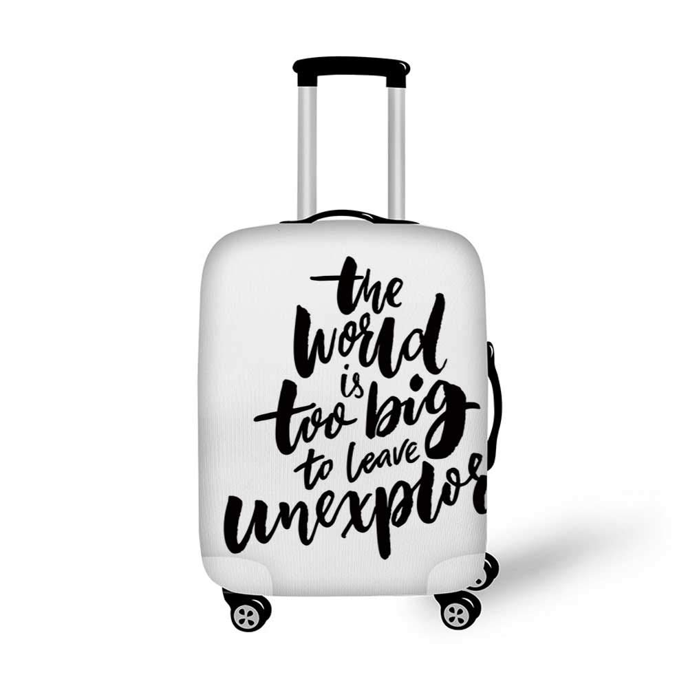 Adventure Stylish Luggage Cover,Teepee Crossed Arrows We are Living Our Adventure Inspirational Lettering Decorative for Luggage,M 19.6W x 28.9H