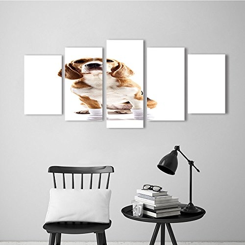 5 Panel Wall Art Set Frameless Cheerful Beagle Dog with Warm Clothing for The Kitchen, Dining Room, Living Room, Bar and so on -  Vanfan, WLH36722K20xG40/2P+K20xG50/2P+K20xG60