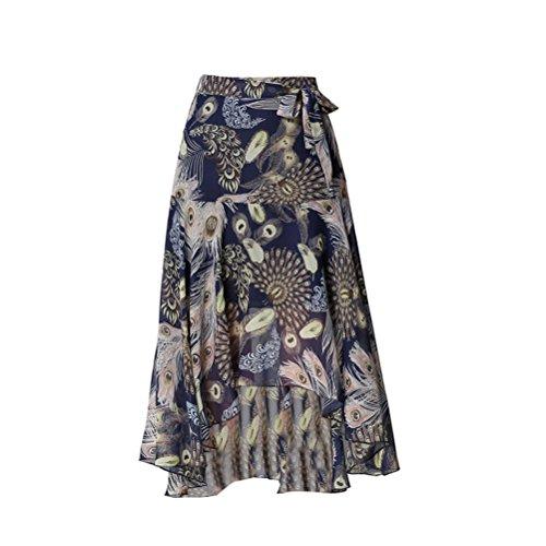 Ourlet Irrgulier Haute Plage Taille en Asymtrique Mousseline Imprime Ethnique Femme Oudan Fonc avec Ceinture Jupe de Bleu YwxqzvXB