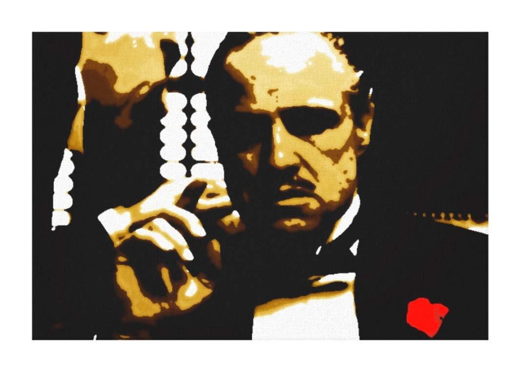 Il Padrino (The Godfather) Don Vito (Marlon Quadro Moderno Dipinto A Mano - Painting, MALEREI, Cadre (Formato 60 x 40 cm) MAUSI