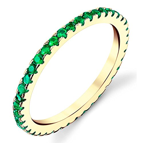 Solid 925 Sterling Silver 14K Yellow Gold Plated Stackable 0.50 Carat TW Ring Micro Pave Wedding Band Eternity Cubic Zirconia Green Emerald