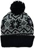 Muk Luks Women's Snowflake Nordic Pom Cuff Cap, Light Grey, One Size