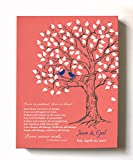 MuralMax - Personalized Anniversary Family Tree Artwork - Love is Patient Love is Kind Bible Verse - Unique Wedding & Housewarming Canvas Wall Decor Gifts - Color Coral - Size - 10x12