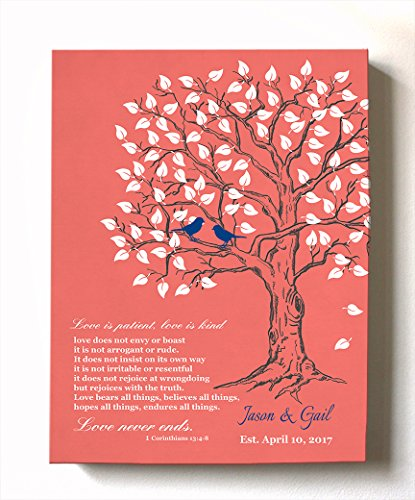 MuralMax - Personalized Anniversary Family Tree Artwork - Love is Patient Love is Kind Bible Verse - Unique Wedding & Housewarming Canvas Wall Decor Gifts - Color Coral - Size -