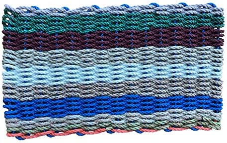 Recycled Lobster Rope Doormat, The Original Colors of Maine Lobster Rope Doormat, Handwoven in Maine, 18 X 30