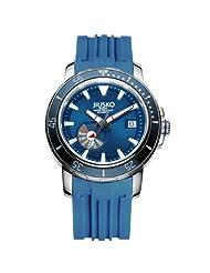 Jiusko Mens 24 Jewel Automatic Deep Dive Watch - 300m Scuba - Sapphire - Day Date - Blue Dial - Blue Rubber Strap - 75LSB08