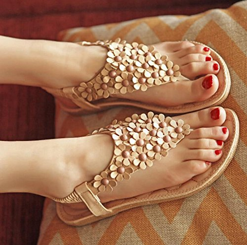 Perlen Womens Böhmischen Blumen Sommer Flop Flip Sandalen Aprikose Flache Vocni Schuhe dXw6Aqq