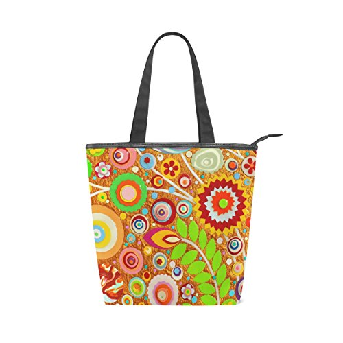 MyDaily Bag 3D Tote Shoulder Abstract Canvas Handbag Flowers Printed Floral Womens Colorful Itqqxwr