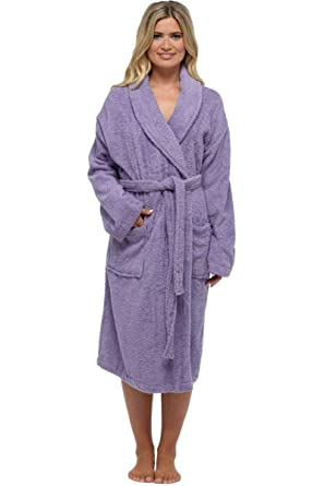 a38b9021110e BBLingerie Ladies Adult Luxury 100% Cotton Towelling Bath Robe Dressing Gown  Lilac White Pink Plus Size 8 10 12 14 16 18 20  Amazon.co.uk  Clothing