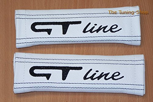 2 x Seat Belt Covers Pads White Leather GT Line Embroidery Edition