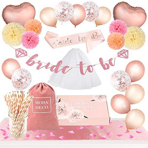 Moda Deco Bridal Shower Bachelorette Party Supplies Set +165pcs- Complete Decoration Kit: Balloons, Table Runner, Pom Poms, Straws, Bride to Be Sash, Veil, Banner, Flower Petals, Bag & Box, Rose Gold ()