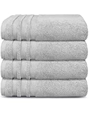 Trident Bath Towel Set, 100% Cotton 4 Piece Set Bathroom Towels, Super Soft, High Absorbent, 625 GSM, Machine Washable - Luxury Hotel Collection - Grey