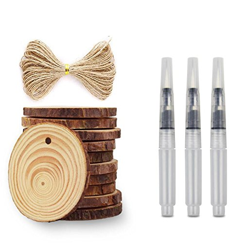 Treetour 20 Pieces Wood Slice with Holes 2.36-2.75 Inch Unfinished Predrilled Wood Slices with Holes Round Log Discs and 16 Feet Natural Jute Twine 3 Painting Pens for Christmas Ornaments and Home Han ()