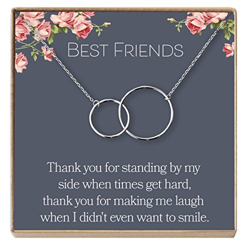 Best Friend Necklace: BFF Necklace, Best Friend Gift Jewelry, Long Distance, Quotes, Friends Forever, 2 Interlocking Circles (silver-plated-brass, NA)
