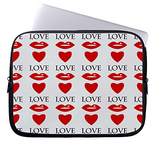 Ojngdafs Red Lips and Hearts on a White Neoprene Sleeve Case