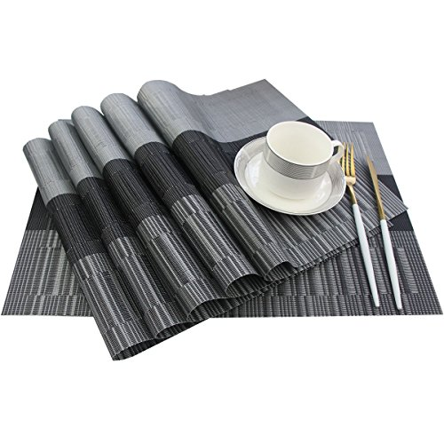 Bright Dream Placemats Easy to Clean Heat Ressietant for Kids Dining Table Mats 12×18 inches Set of 6(Black+Gray)