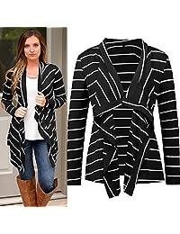 Kaimu New Fashion Women Casual Long Sleeve Striped Asymmetrical Hem Cardigan Cardigans