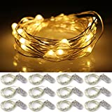 ER CHEN(TM) 12 Set of Micro 30 LEDs Super Bright Rope Lights Battery Operated 10 Ft Long Ultra Thin Silver Coating Copper Wire Starry String lights for Home Bedroom Party Tree,Warm White