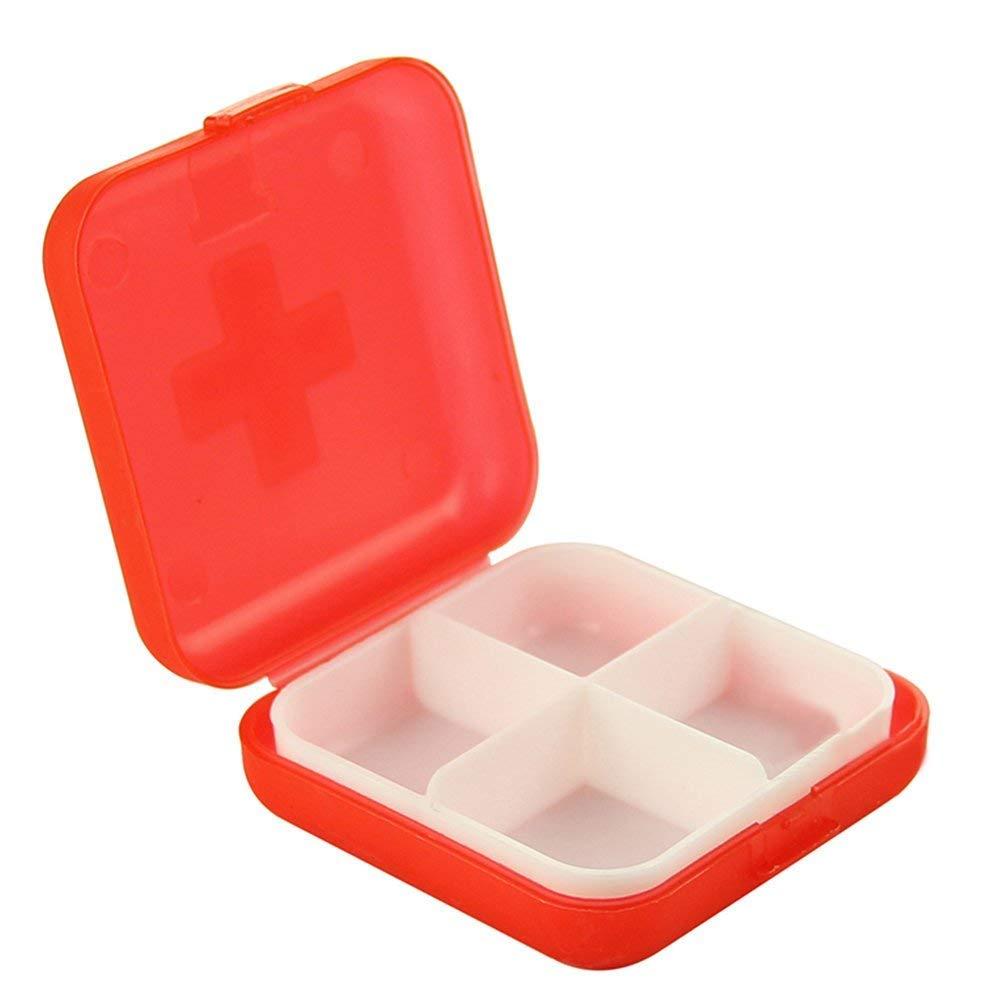 Potelin Portable Pill Box Plastic Medicine Storage Box Pill Case Capsule Divide Storage Camping 4 Compartments Pill Container Case Red