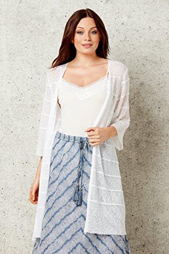 Ouvert 3 Transparent Leger Originals Ivoire Long Cardigan Semi Printemps 4 Roman Femme Manches Ete Confortable tFfCw
