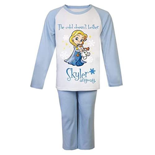 Girls Disney Frozen Pyjamas Pjs Ages 4 to 10 Years Personalised With Name