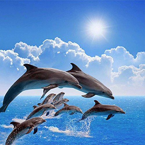 - LICSE DIY 5D Diamond Embroidery Painting Animal Dolphin Cross Stitch Craft Home Decor 16X16 inches