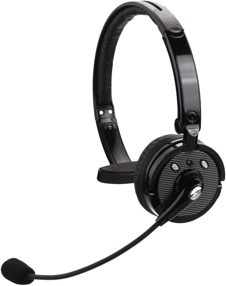 kiwitatá Truck Driver Wireless Bluetooth Headset Over The Head Hands Free Noise Cancelling Phone Headphones for iPhone,Office Skype,Call Center,PS3,Tablet PC
