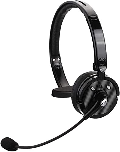 kiwitat Truck Driver Wireless Bluetooth Headset Over The Head Hands Free Noise Cancelling Phone Headphones for iPhone,Office Skype,Call Center,PS3,Tablet PC