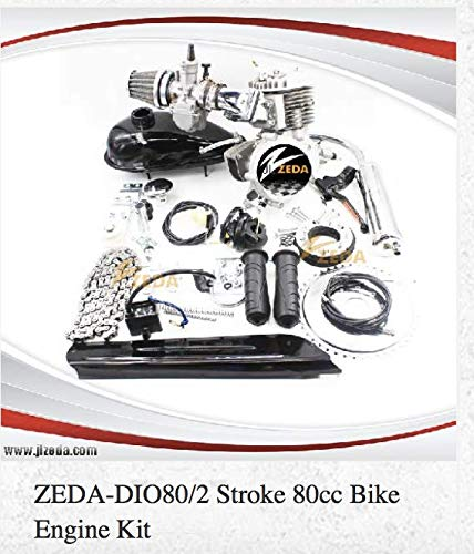 Zeda Dio 80CC Bicycle Engine Kit with Window Piston, Dio Reed Valve & OKO Carburetor, 36 Tooth Sprocket Standard, 44 Tooth Available.